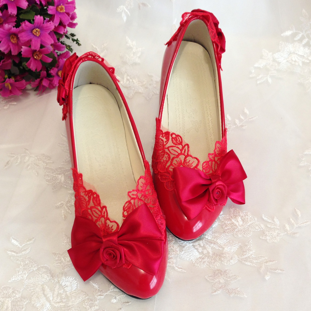 women Wedding shoes red crystal lace bow married bridal handmade bow rose formal dress shoes<br><br>Aliexpress