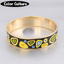 Luxury Classic Woman Bracelets 16mm Width Stone Pattern Design Enamel Bangles for Women Mother's Holiday Gift(China)