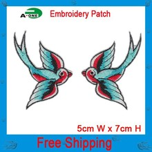 lovely swallow animal patch iron on hot cut border use in cloth hat bag free shipping can be custom embroidery factory