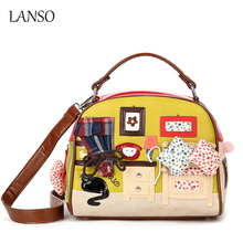 Personality Leisure Bags Retro Hand - Carried Messenger Shell Bag Zipper Cartoon Handbags Women Shopping Party Essential Bag
