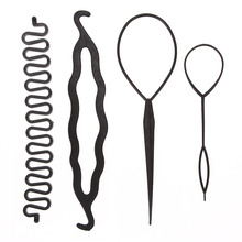 4pcs/set 3 Kinds Magic Hair Styling Accessories Set Braiders Hair Pin Bun Roller Maker Hair Braiding Twist Curler Styling Tool(China)