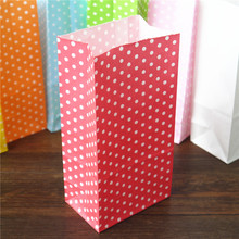 promotion Favor Bag birthday Stand up Colorful Polka Dots Paper Bags 18x9x6cm Favor Bag Open Top Gift Packing Bags Treat 100pcs(China)