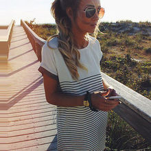 2016 fashion new style Womens Ladies Cotton T Shirt Tops Striped Mini Dress Long Blouse Tee Shirts