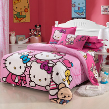 2017 New Bedding Cartoon Hello Kitty 4pcs Duvet Cover Sets Soft   Bed Linen Flat Bed Sheet Set Pillowcase