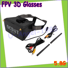 Wholesale 1pcs 5.8G Dual Receiver FPV 3D Video Glasses Viewer Handset Video Virtual Display Drop free shipping