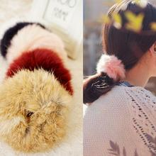 1PC NEW Women Lovely Artificial Circle Hair Rope Tail Accessories Scrunchie Faux Rabbit Fur Ponytail Elastic Plush