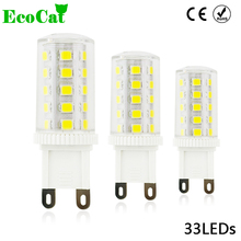 ECO CAT G9 LED Corn Bulb G9 AC 220V lamp  33LEDs 2835 SMD G4 12v 3014 Candle Replace 20W Halogen lamp Chandelier Light