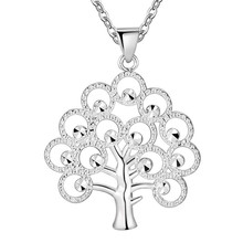4 hours LEFT 11.11 silver Fashion Bling tree of life totem Religion Pendant Necklace 18inch 1mm rolo Wholesale price factory(China)