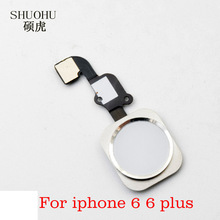 "SHUOHU brand 10 pcs Home Button with Flex Cable for iPhone 6 4.7"" / 6plus 5.5"" Black/White/Gold Home Flex Assembly Free shipping"