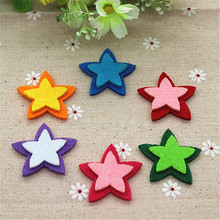 Mix Colors 30pcs/lot Handmade Star Shape Patches Felt Accessories for DIY Scrapbooking,35mm