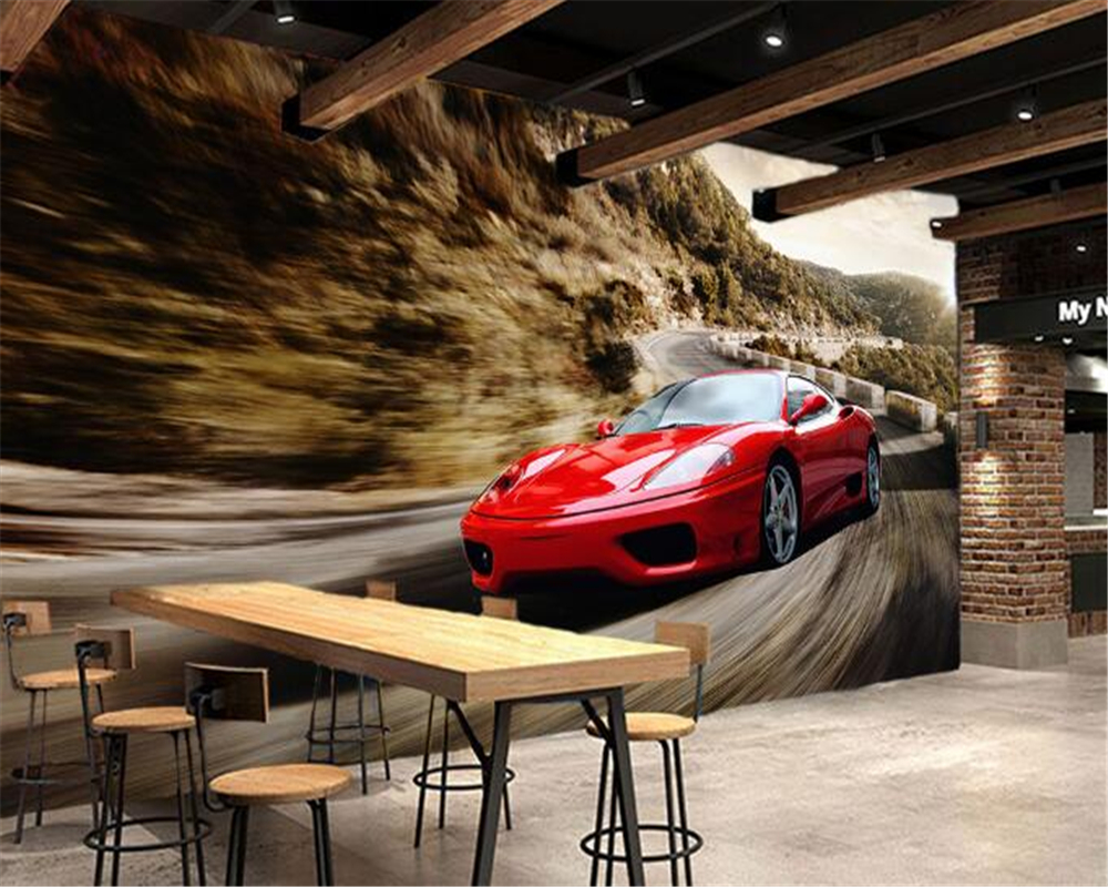 3D red cool sports car KTV living room tooling background wall home decoration wallpaper murals photo  wallpaper for walls 3 d<br><br>Aliexpress