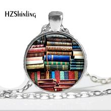 New Fashion Vintage Necklace Glass Dome Vintage Library and Books Pendants Necklace For Women Art photo book necklace HZ1(China)