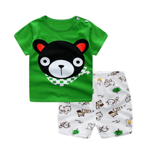HH Baby boy clothes 2017 baby summer clothing Short-sleeved Casual Children print cartoon Shirt+Shorts 2pcs baby girl set outfit(China)