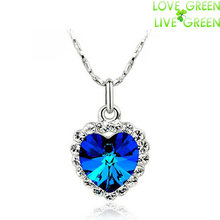 fashion float floating queen brand GP Austrian Element Crystal royal Ocean Blue Heart titanic Pendant Necklace jewelry 84018