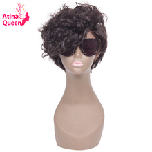 Atina Queen Wavy Short Bob Wigs Cut Glueless Full Lace Human Hair Wig for Black Women Brazilian Virgin Hair Natural Hairline(China)