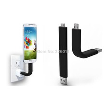 Bendable Micro USB Sync Data Charger Cable Stand For Samsung S3 S4 HTC Smart Cell phone Promotion