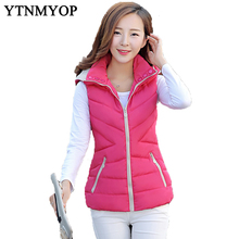 New Slim Fashion Autumn And Winter Vest With Hooded Women's Short Vest Jacket Sleeveless Down Cotton Slim Waistcoat Plus Size(China)