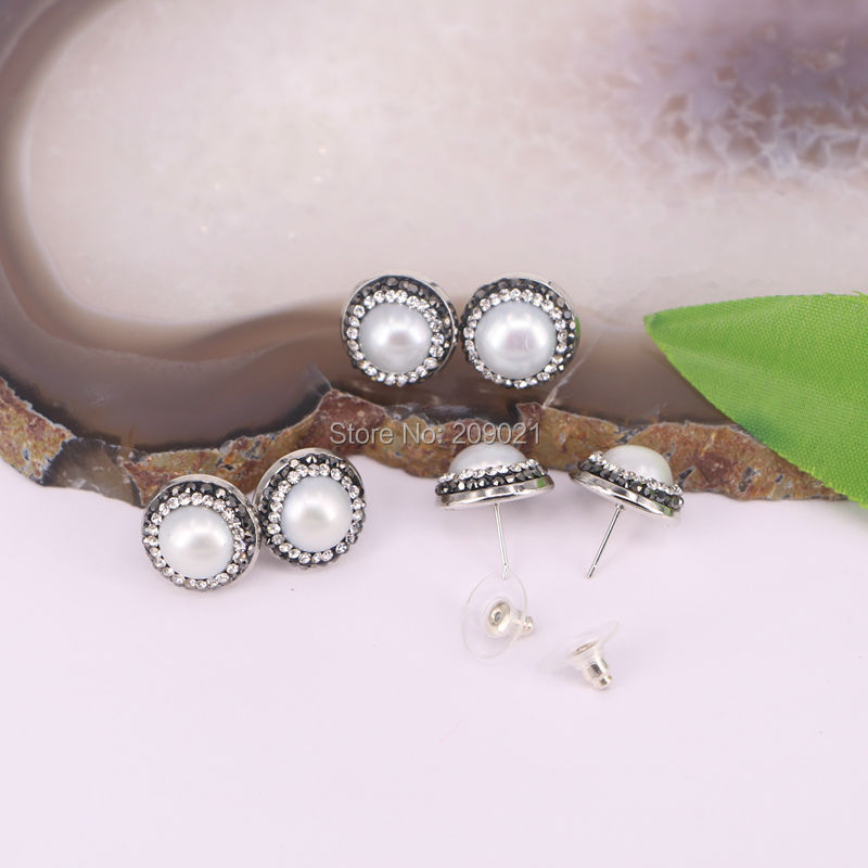 New 10pair Charms  Pave Rhinestone Crystal Pearl Stud Earrings Jewelry Finding For Women