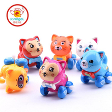 IQANGLE 1PCS Hot Colorful Cat Wind Up Toys Clockwork Toy Baby Kid Running Spring Toy Children Newborn Baby Mini Pet Animal(China)