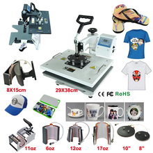 New Design 9 In 1 Combo Heat Press Machine, Heat Transfer/Sublimation Machine,sublimation printer for Mug/Cap/TShirt /Phone case(China)