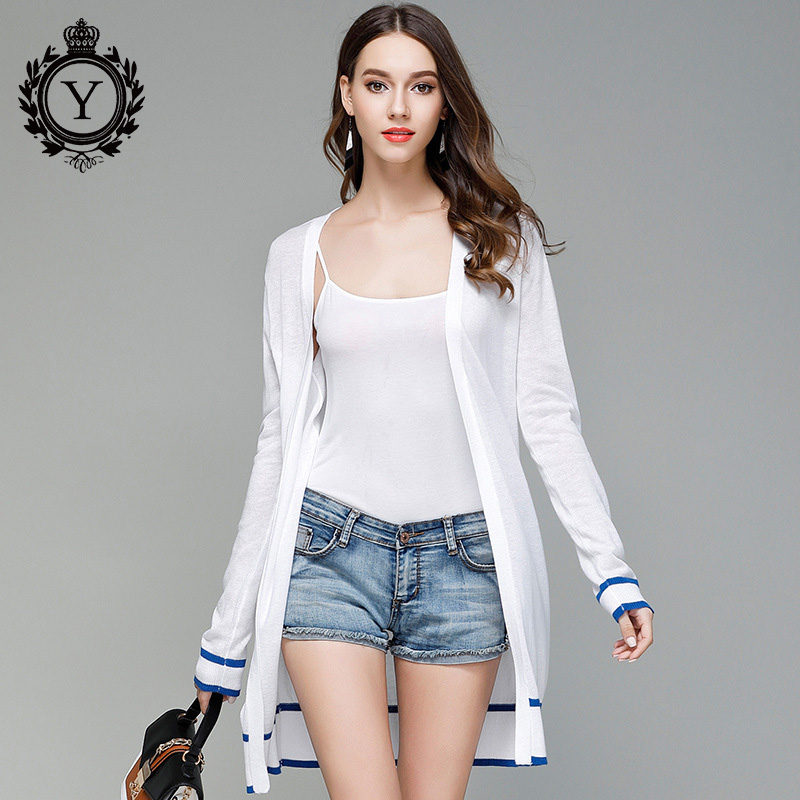 COUTUDI 2017 Autumn Long Thin Cardigan Sweater White Open Stitch Sweaters Women's Striped Sweater Long Knitted Cardigans Female(China)