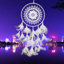 ASLT White Lace Flower Dreamcatcher Wind Chimes Indian Style Feather Pendant Dream Catcher Creative Car Hanging Decoration