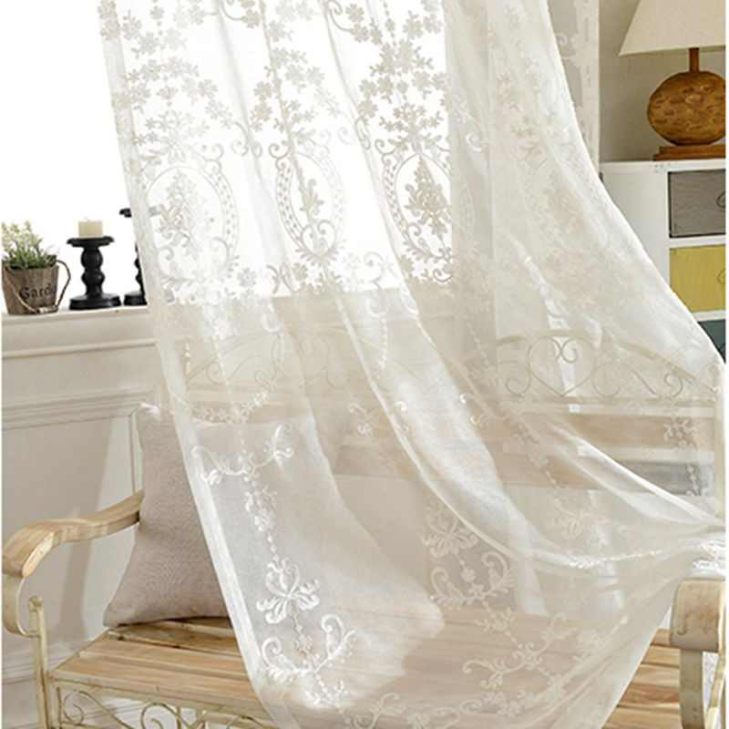 Luxury Europe White Cotton Linen Curtain Fabrics Tulle For Bedroom Embroidered Sheer Curtains for Living Room Panels AP014-40