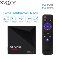 xvgjdz A5X Plus Android 7.1 Smart tv box RK3328 quad core 1GB 8GB 2.4G Wifi 4K Ultra HD mini media player android tv box
