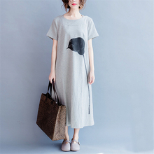 Johnature Women Long Dress Brief Casual Loose 2017 Summer New Fashion Gray Women Clothes Cotton Cute Dresses