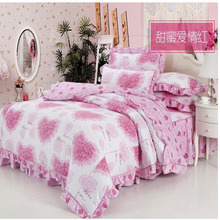 2017 Bedding Set Queen Pink 4pcs Princess Romantic Country Style Comforter Bedding Sets Queen Size Floral Printing Free Shipping