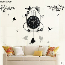 Classic Wrought Iron Metal Bird Wall Clock Modern Large Wall Clocks Electronic Quartz Watch Vintage Home Decor for Living Room