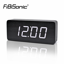 FiBiSonic Big Numbers Wood LED Digital Clocks, Sound Control Wooden Alarm Clock with Temperature electronic table desktop watch(China)