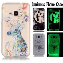 For Coque Samsung Galaxy J1 2016 Case Silicone Cartoon Phone Case Samsung Galaxy J1 6 2016 Case J120 J120F Luminous Back Cover(China)