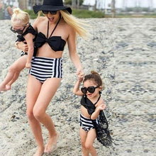 2017 Summer Family Match Swimsuit Mother and Daughter Striped Bikini Set Toddler Kids Swimming Bathing Suit High Waist Swimming