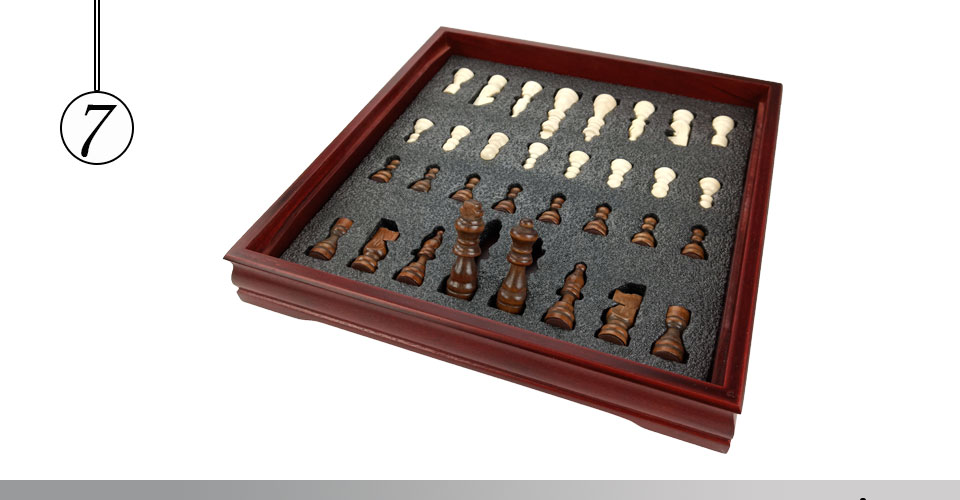 Easytoday Wooden Chess Game Set Wood Chess Pieces Short Tea Style Puzzle Chessboard Table Games High-quality (7)