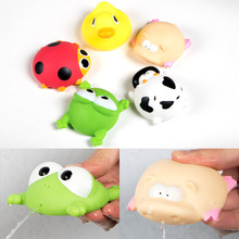 Baby bath toys 5PCS/lot Soft Rubber cartoon simulation Frog Duck cow bathing water spraying squeeze sounding toys baby shower(China)