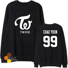 Fashion spring autumn kpop twice member name printing black grey sweatshirt  loose thin hoodie for fans moletom