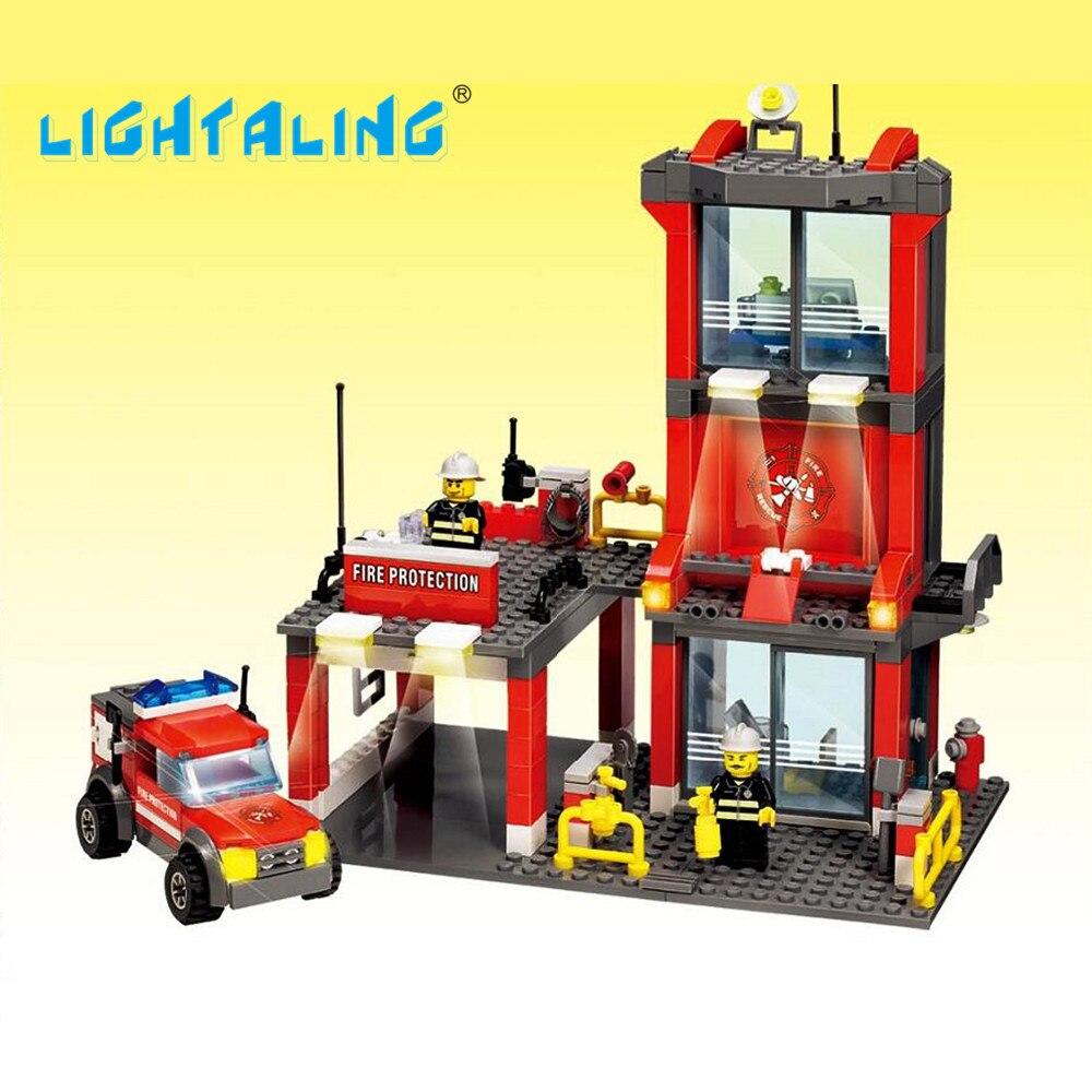Toy Building Blocks Fire Station Figures Fireman Assemble Set DIY Educational Toys Gift for Kids Lightaling<br><br>Aliexpress