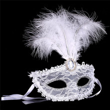 2016 Fashion Woman Girl feather mask lace fringed pearl party mask venetian costume ball bar masquerade gift halloween decor