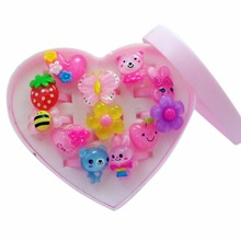 12pcs/set Mix Animals Flower Heart Assorted Baby Kids Girl Children's Cartoon Rings With Display Box For Christmas Gift Transpar