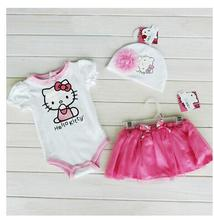 Free shipping Summer Baby Girls Hello Kitty Flower Hat Short Sleeve Romper Bowknot Tutu Cake Skirt Toddler Kids Three-Piece Suit