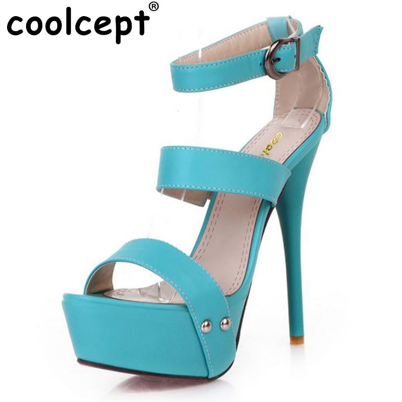Coolcept women ankle strap stiletto leopard platform high heel sandals sexy ladies heeled footwear heels shoes size 34-43 P16785<br>