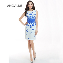 ANGVILME New 2017 Women summer light printing simple bodycon Dress slim young  vestido young design cover hips sexy dress