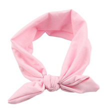 2017 Hot Fashion Women Elastic Bow Hairband Turban Knotted Rabbit Hair Band solid color Headband headdress wholesale(China)