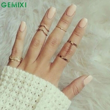 Bling-World6pcs / Set Gold Rings Set Crystal Above Knuckle stacking Band Midi Mid Ring for Women Lady Delicate