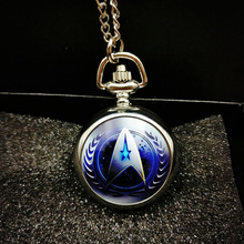 Style Star Trek Theme Pocket Watch Necklace Blue Silver Bronze Good Quality Fashion Fob Watches New Hot Selling Movie Shield