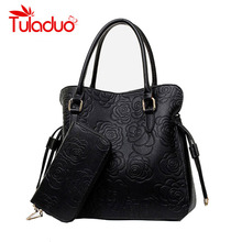 High Quality PU Leather Bags Women Floral Handbags Famous Brand Clutch Purses Ladies Tote Bolsa Feminina Classic Grain Top Bag(China)