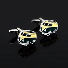 Hot Sale high Quality French Suit Shirt Button Car Series Bus Cufflinks Wedding Party Gift yellow green Cufflinks For Mens(China)
