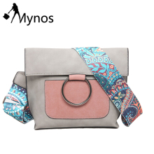 Mynos Bohemian Strap Women Crossbody Bag Metal Ring Shoulder Bag Suede Leather Messenger Bag Patchwork Purse Bolsas Feminina Sac