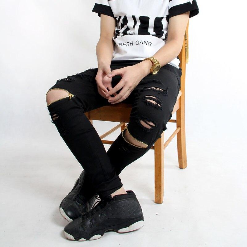 Men jeans skinny zipper ripped hole jeans for men distressed kanye west hip hop swag black jeans fashion design denim trousersОдежда и ак�е��уары<br><br><br>Aliexpress